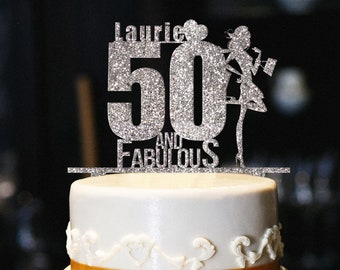 Custom 50 And Fabulous Cake Topper Glitter Birthday 50th
