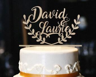 Rustic cake topper etsy rustic wedding cake topper personalized wood wedding cake topper engagement cake topper rustic wedding decor rustic cake topper junglespirit Choice Image