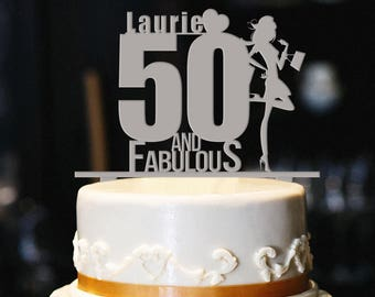 50 And Fabulous Custom Cake Topper Birthday 50th Gold