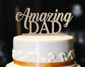 Amazing Dad Cake Topper Wood Birthday Fathers Day Decor