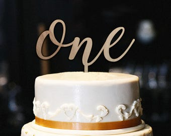 Wood One Cake Topper