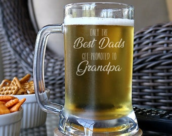 f95dec813 Only the Best Dads Get Promoted to Grandpa Beer Mug, Grandpa Beer Mug,  Grandpa Gift, Engraved Beer Glass, Pregnancy Reveal Gift - C