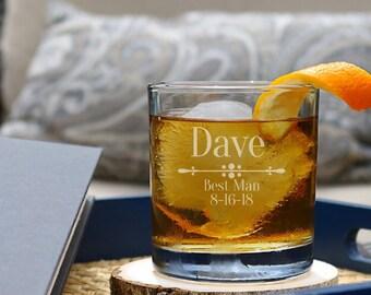 Personalized Whiskey Glass, Groomsmen Gift Idea, Groomsmen Whiskey Glasses, Groomsmen Gifts, Groomsmen Glasses, Groomsmen Proposal - D