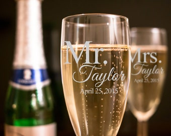 Set of 2, Personalized Mr. And Mrs. Wedding Toasting Flutes, Wedding Glasses, Personalized Champagne Glasses, Engraved Wedding Flutes - A