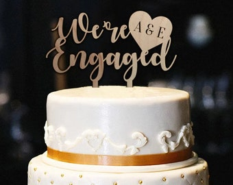 were engaged cake topper winitials rustic engagement cake topper bridal shower cake topper cake topper engagement party