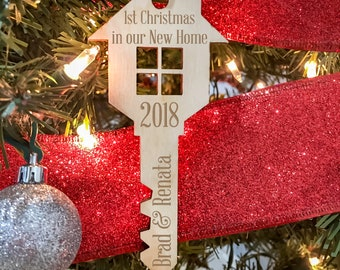 First Home Ornament, Our First Christmas, Housewarming Gift, New Home Gift, Christmas Ornament, First Home Gift, Wood Key Ornament