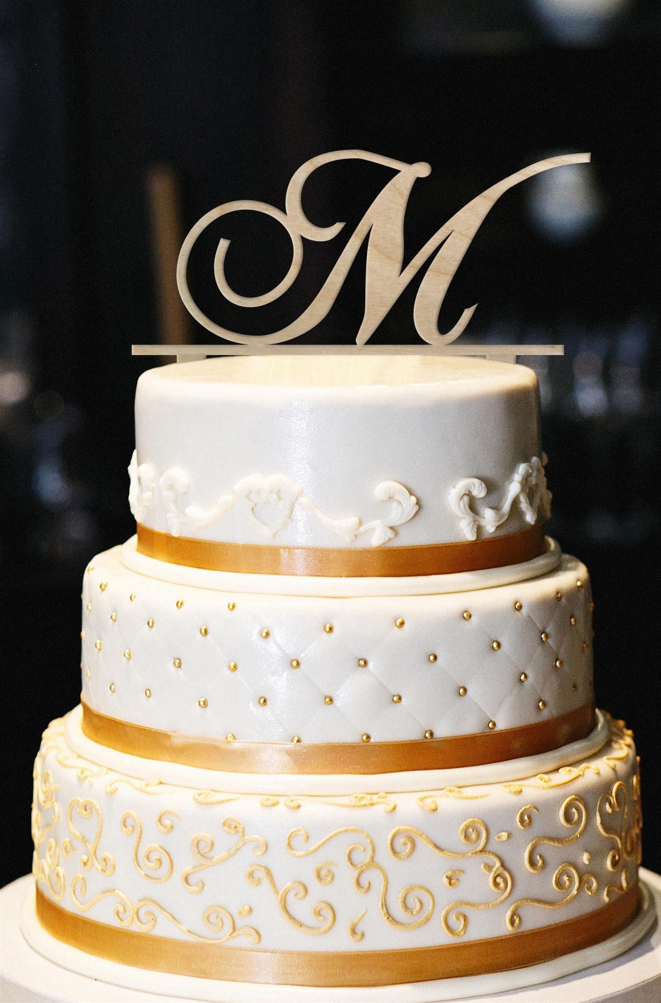 Monogram Wedding Cake Topper, Wedding Cake Topper, Letter Cake ...