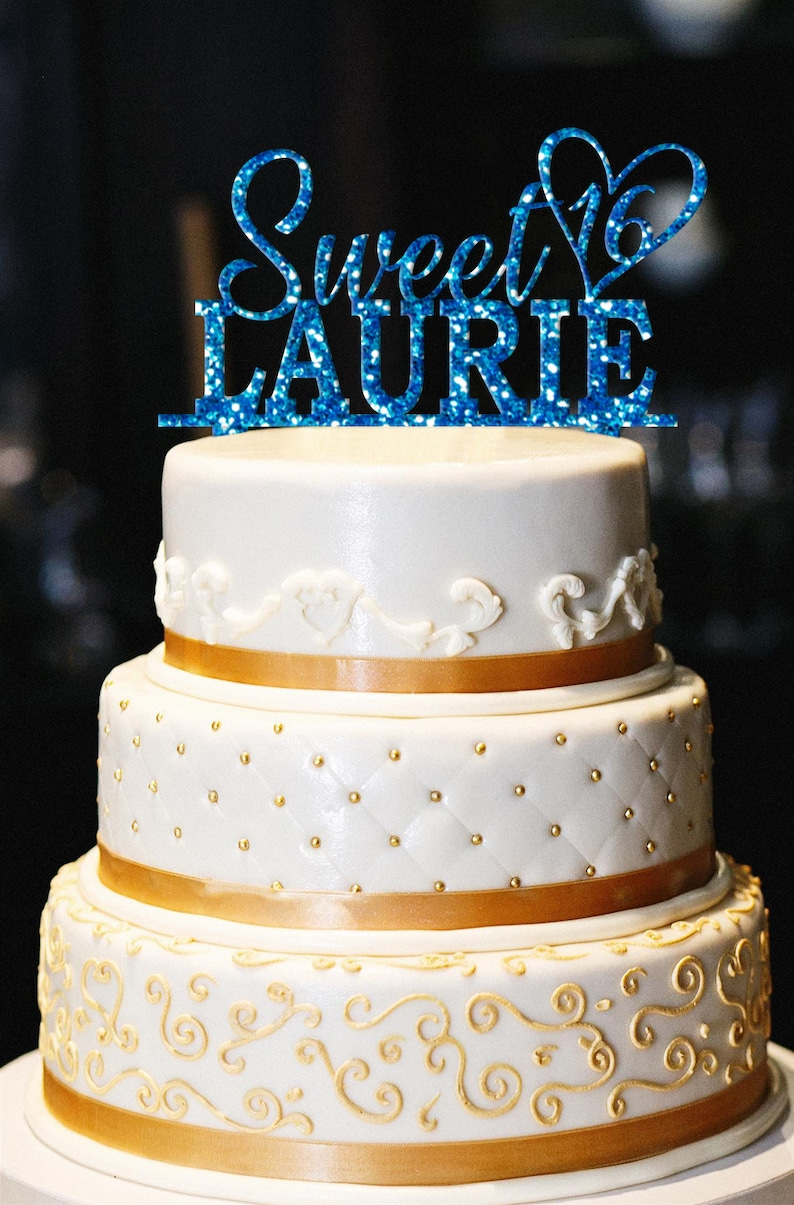 Sweet 16 Glitter Cake Topper Custom 16th Birthday