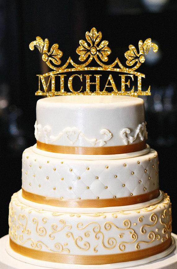Custom Crown Birthday Cake Topper Glitter Birthday Cake Etsy