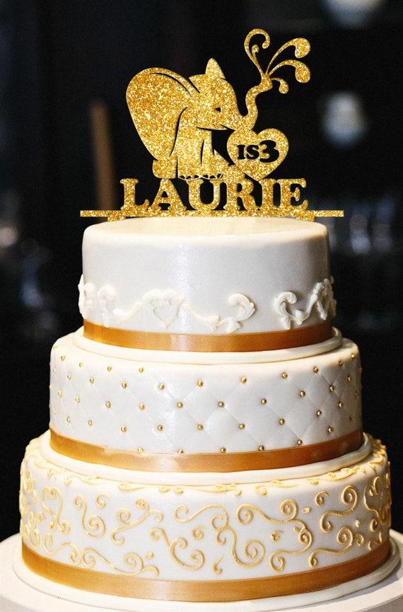 Elephant Birthday Cake Topper Custom Glitter Birthday Cake Etsy