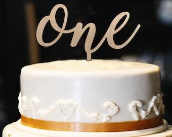 One Cake Topper Wood - First Birthday Cake Topper - 1st Birthday - Smash Cake Topper - 1st Birthday Topper - Boy or Girl Birthday Topper