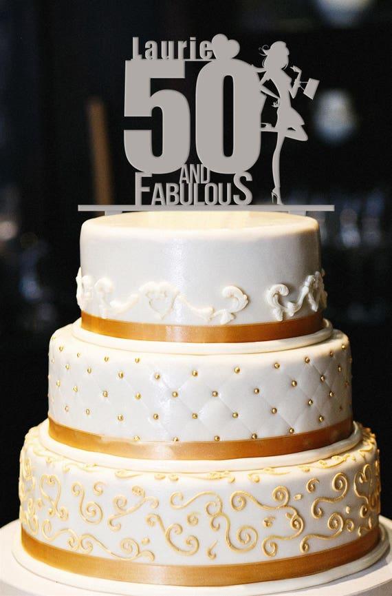 Fantastic 50 And Fabulous Custom Cake Topper Birthday Cake Topper 50Th Etsy Funny Birthday Cards Online Bapapcheapnameinfo