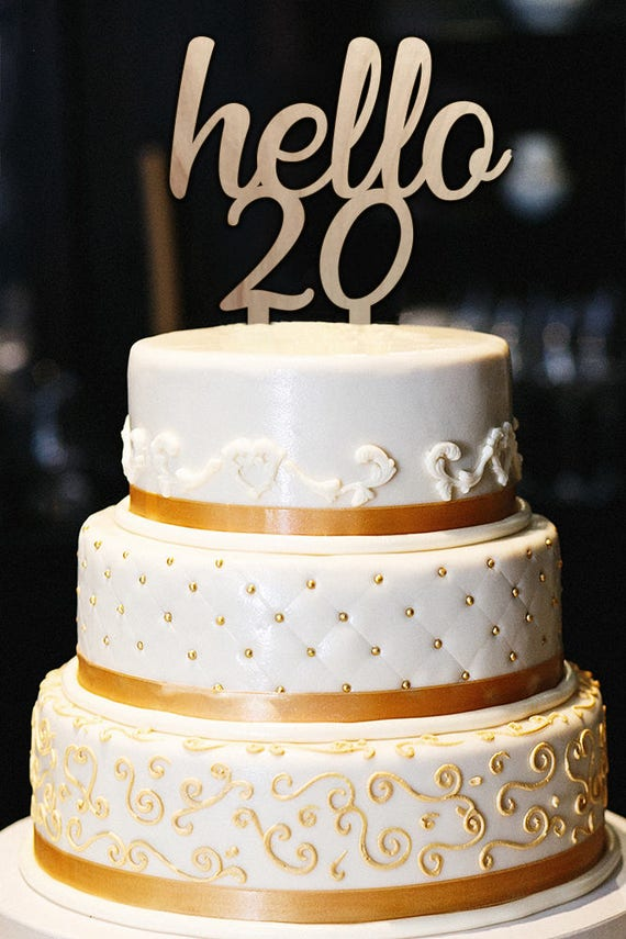 Surprising Hello 20 Cake Topper 20Th Birthday Cake Topper Milestone Etsy Personalised Birthday Cards Veneteletsinfo