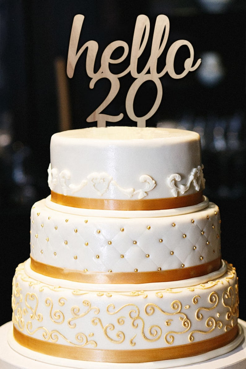 Hello 20 Cake Topper 20th Birthday Milestone