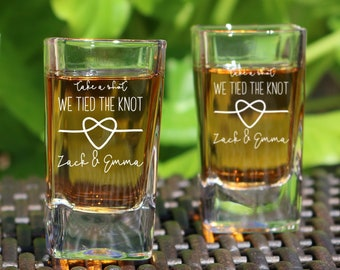 Take A Shot We Tied The Knot Shot Glasses, Wedding Gift, Wedding Party Favor, Wedding Shot Glasses, Wedding Favors, Wedding Favor