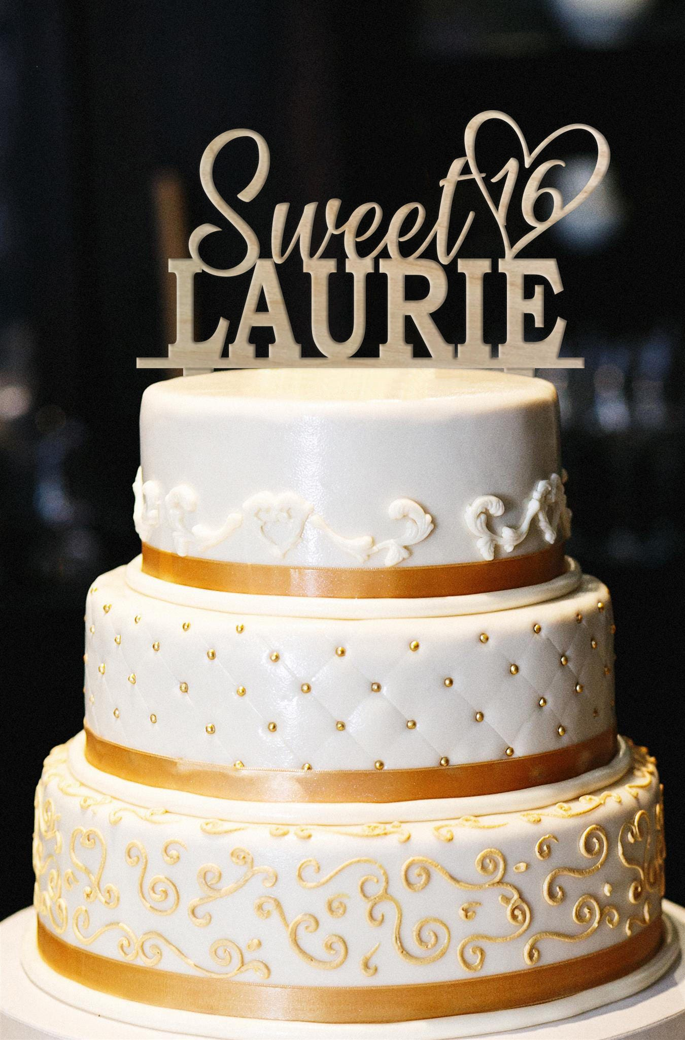 Sweet 16 Cake Topper Wood Sweet 16th Birthday Cake Topper ...