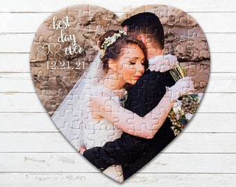 Personalized Heart Puzzle, Engagement Gift, Anniversary Gift, Wedding Gift, Custom Puzzle, Jigsaw Puzzle, Engagement Picture Puzzle