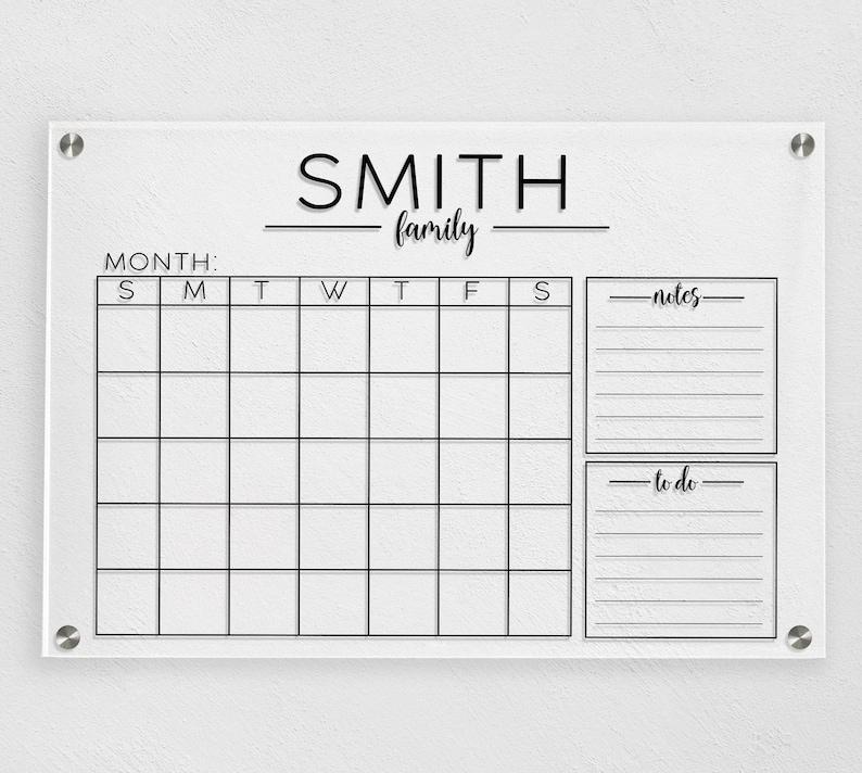 Acrylic Wall Calendar Dry Erase Calendar Acrylic Monthly image 0