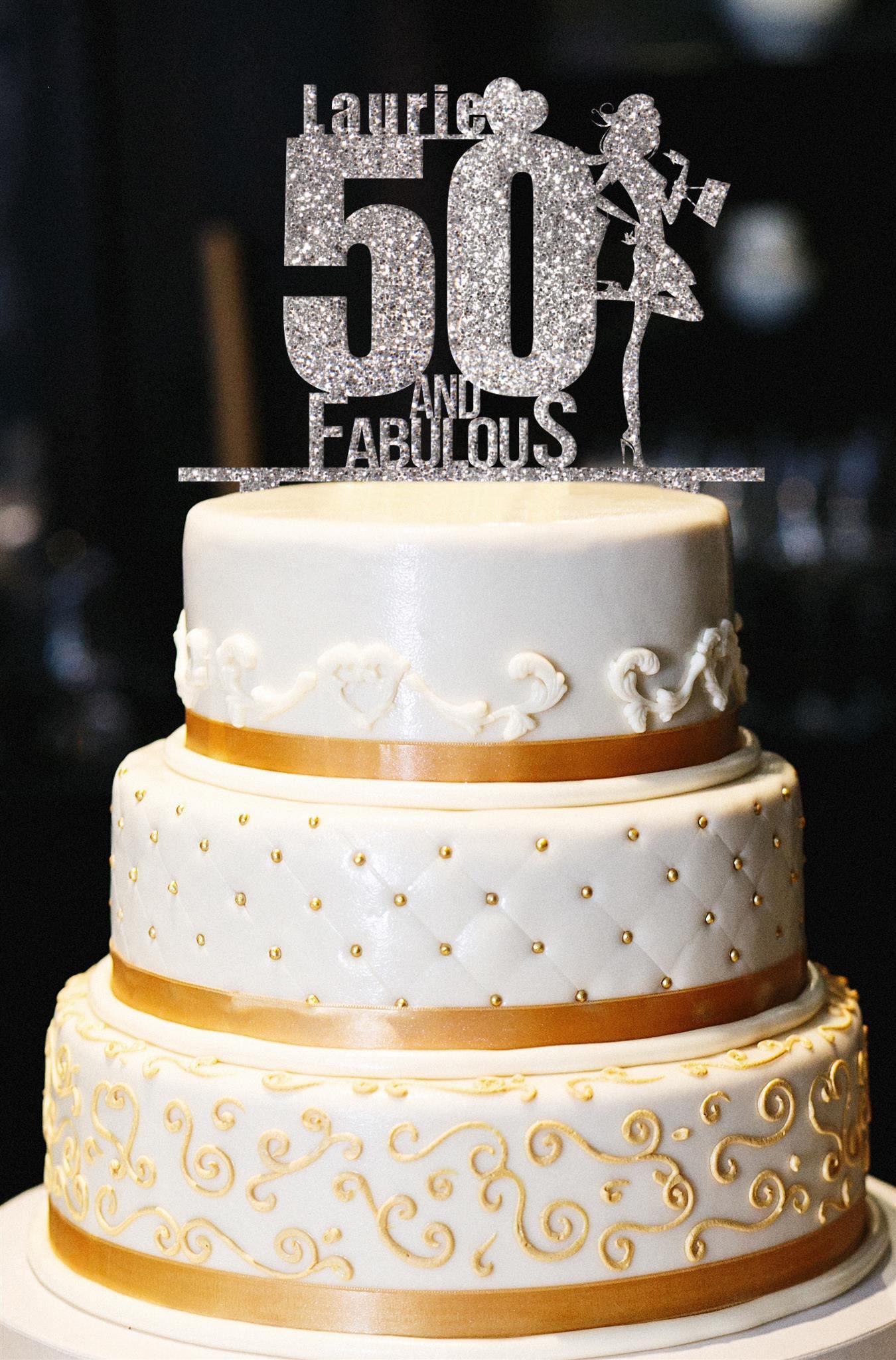 Custom 50 and Fabulous Cake Topper Glitter Birthday Cake ...