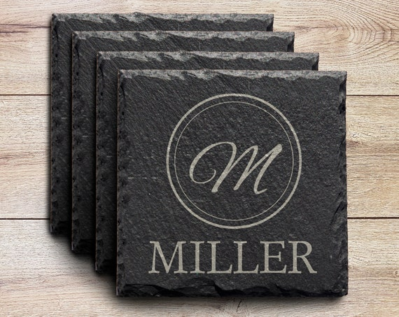 home decor personalized coaster set wedding gift drink coasters Custom Slate Coasters Set of Four anniversary gift new home gift