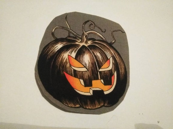 4x4 vintage pumpkin iron on patch/ cotton applique/ vintage Halloween