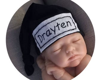 f1a366220c6 Baby Knot Hat Coming Home Personalized Newborn Baby Hat Hospital Hat Color  Black
