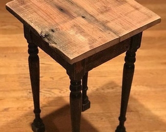 items similar to wormy chestnut reclaimed wood end table with drawerreclaimed wood end table