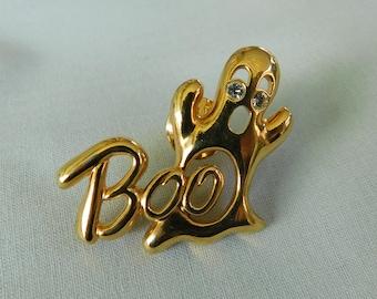 1086f34c8c6 Gold Ghostie BOO Pin, Gold Ghost Boo Brooch, Halloween Brooch, Halloween  Jewelry
