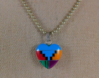 Small Inlaid Opal Silver Zuni Heart Pendant With Chain 0175