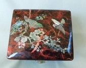 Asian Lacquered Inlaid Shell Trinket Box, Treasure Box From The Orient, Chinese Lacquered Trinket Box