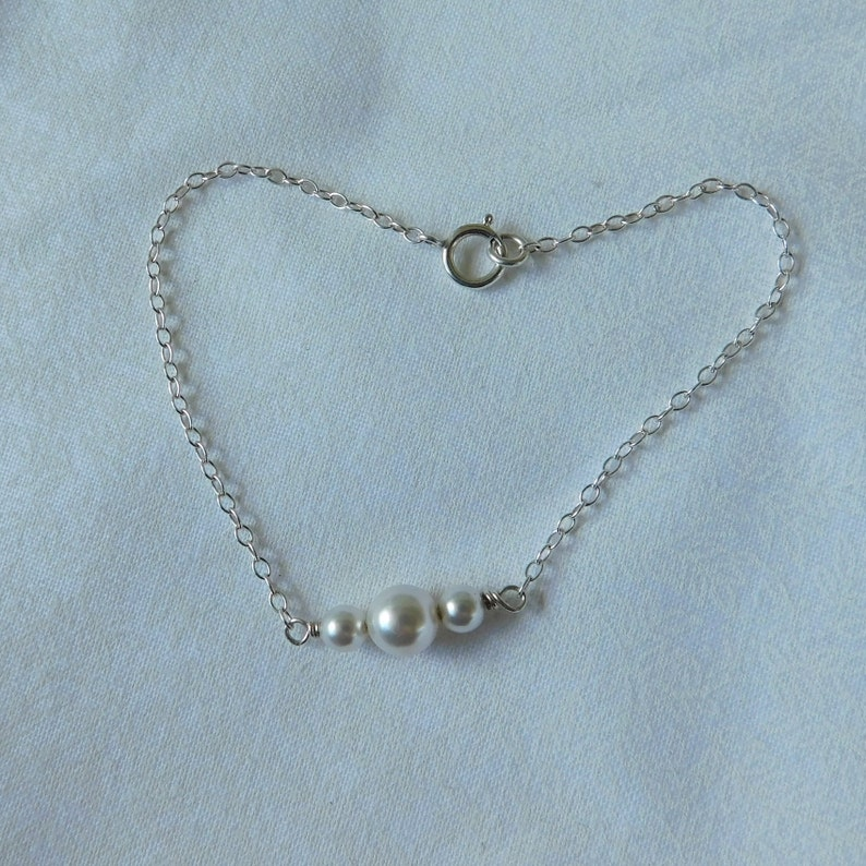 Quality Glass Pearl and Sterling Bracelet Faux Pearl Jewelry Wedding Jewelry Small Faux Pearl and Silver Chain Bracelet