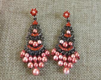 Coral and Orange Chandelier Earrings, 1980's Bohemian Style Earrings, Bright Orange Rhinestone Earrings, Faux Colored Pearl Earrings