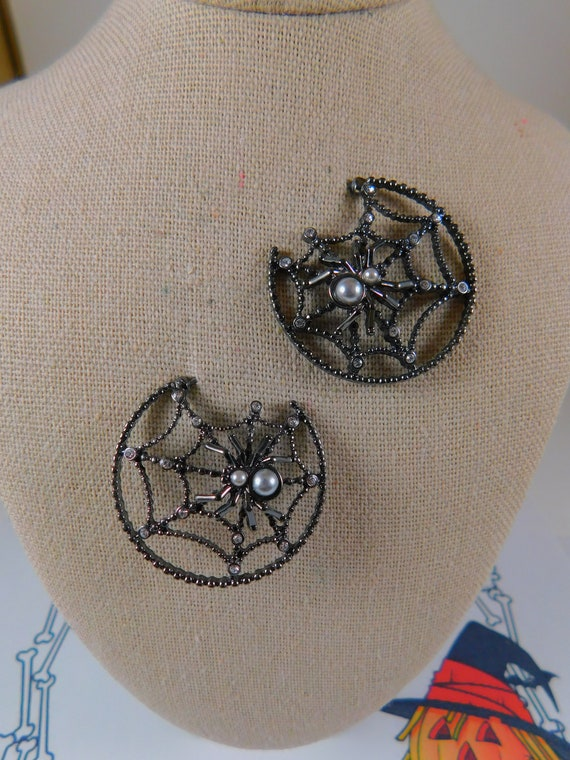 Black Spider and Web Hoops with Crystal and Faux P