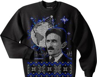 Nikola Tesla sweatshirt, Electrical Engineer, Physicist, Ugly Christmas Sweater