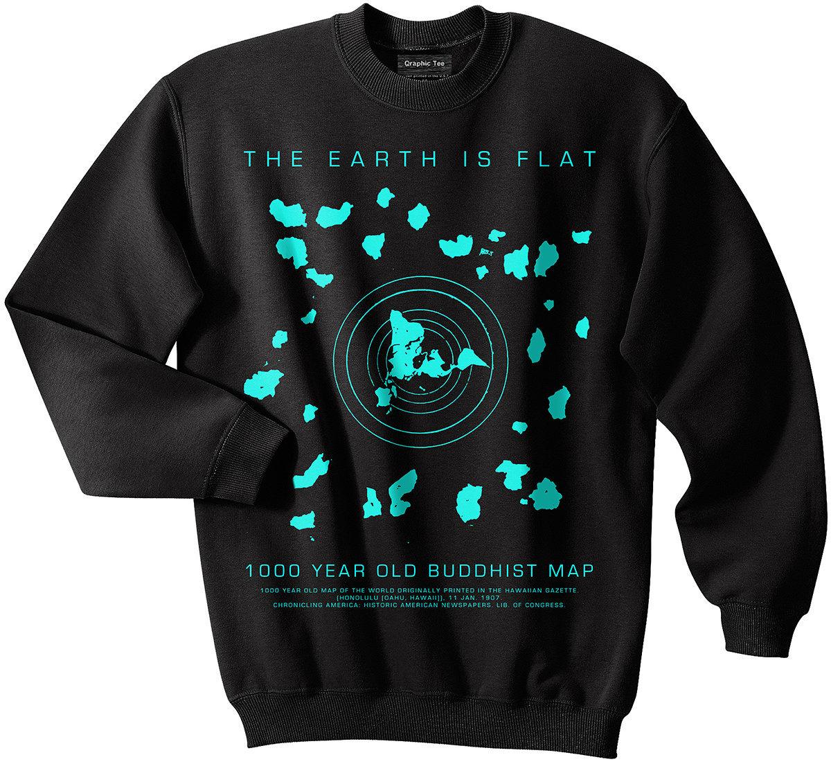 Flat earth sweatshirt buddhist map earth is flat firmament etsy zoom gumiabroncs Gallery
