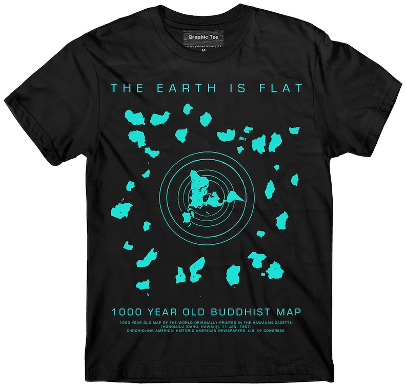 Flat Earth t shirt Buddhist Map Earth is flat Firmament | Etsy