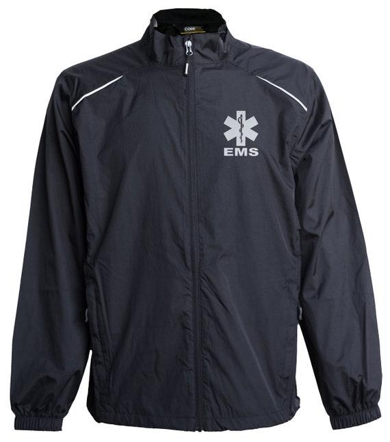 EMS windbreaker, REFLECTIVE logo, zip up jacket, First Responder