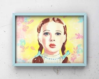 d7fbd041ccf2b3 Wizard of Oz original art print   girls   teen bedroom print   Dorothy Gale    vintage inspired painting   movie art   fine art   gift