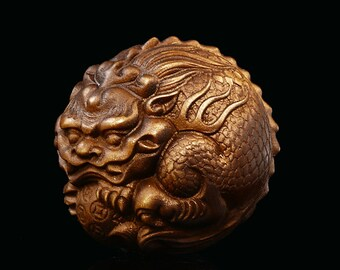 Wood China handcarved statue Weave Pendant lion foo dog car Key Chain