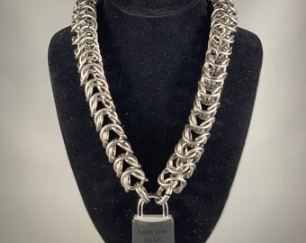 Heavy Box Chain Pup Sub Bdsm Collar