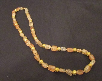 "Ice Flake Quartz/ gold filigree metal necklace 24"""