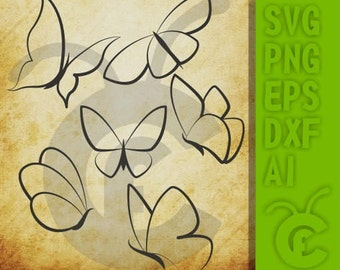 Butterflies SVG / Butterfly silhouettes / Butterflies cutting files / Clipart / eps / dxf / ai, svg / png / Cricut / Cameo / Printable / Art