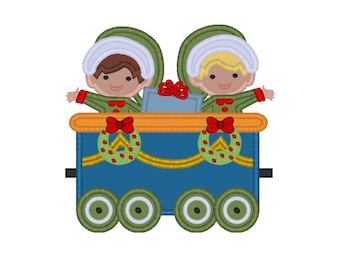 "Christmas Train Elves applique machine embroidery design- 3 sizes 4x4"", 5x7"", 6x10"""