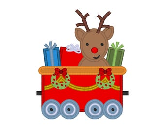 "Christmas Train Reindeer applique machine embroidery design- 3 sizes 4x4"", 5x7"", 6x10"""