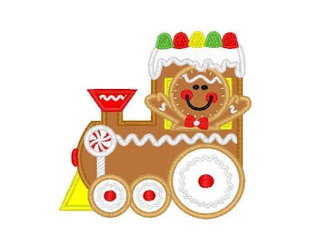 "Christmas Gingerbread Train applique machine embroidery design- 3 sizes 4x4"", 5x7"", 6x10"""