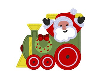 "Christmas Train Santa applique machine embroidery design- 3 sizes 4x4"", 5x7"", 6x10"""