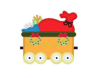 "Christmas Train Presents applique machine embroidery design- 3 sizes 4x4"", 5x7"", 6x10"""