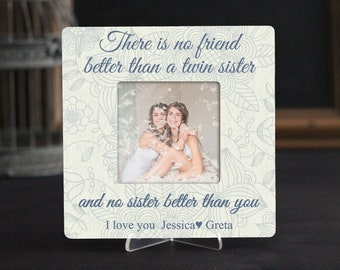 Best Friend Personalized Picture Frame Quote Birthday Twins Siblings TWIN Sister Gift