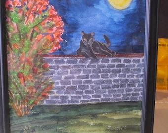 Black Cat Moon Beam watercolor