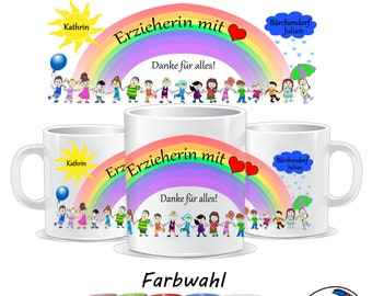 Educator, educator with heart cup, gift for educator, farewell kindergarten, cup for educator, personalizable with name and much more.